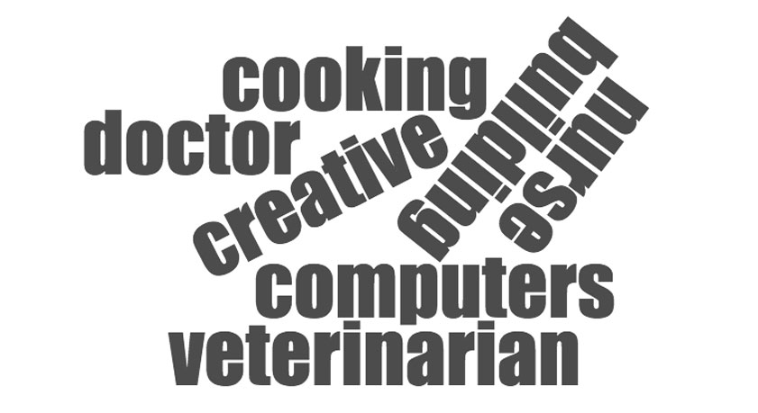 cooking, doctor, creative, building, nurse, computers, veterinarian