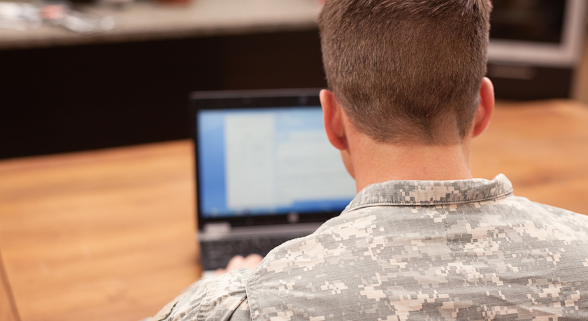 Military person on computer